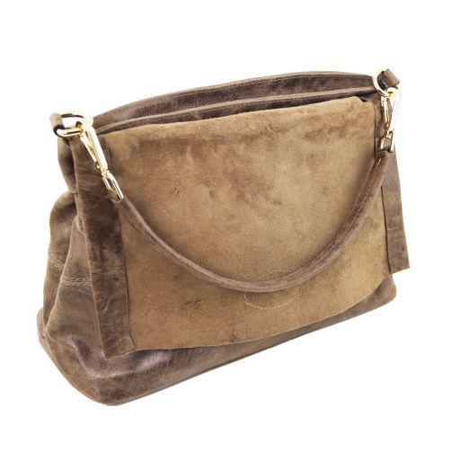 TL Bag Sac à main en cuir effet vieilli Taupe foncé TL141637