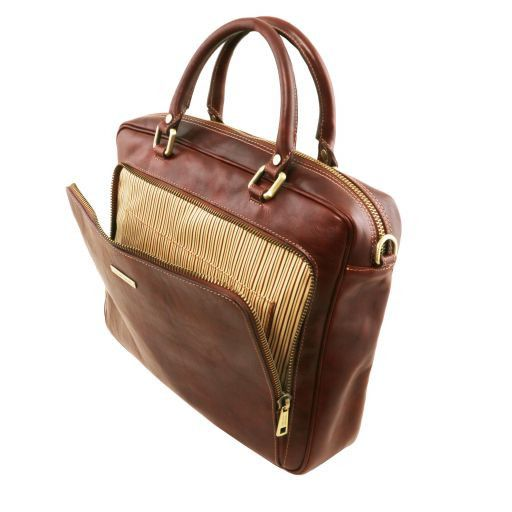 Pisa Leather laptop briefcase with front pocket Honey TL141660