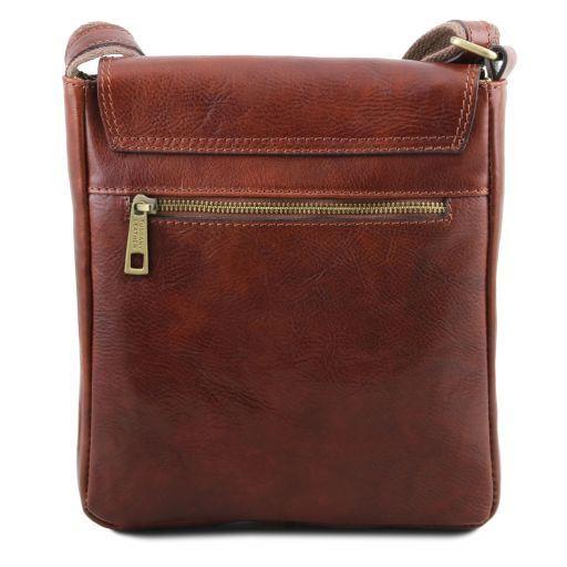 John Leather crossbody bag for men with front zip pocket Коричневый TL141408