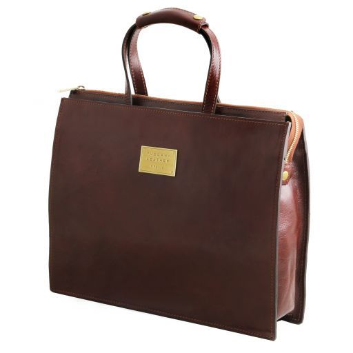 Palermo Leather briefcase 3 compartments for women Brown TL141343