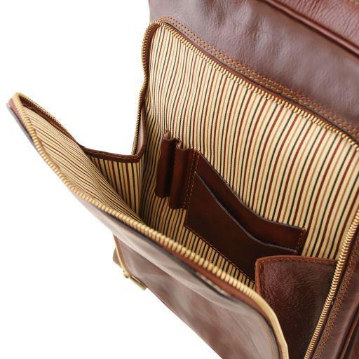 Bangkok Кожаный рюкзак для ноутбука с отделением впереди Мед TL141793