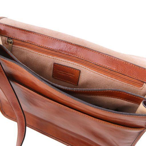 TL Messenger Bolso en piel con bandolera 2 compartimentos - Modelo grande Marrón TL141254
