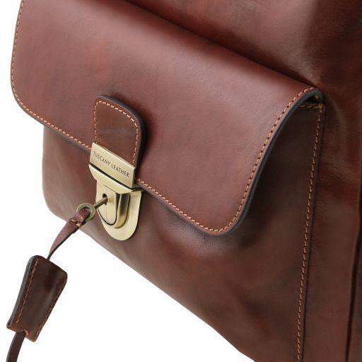 Kyoto Leather laptop backpack Dark Brown TL141859