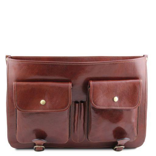 Ancona Leather messenger bag Brown TL141853
