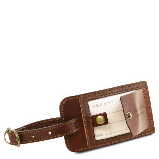 TL Voyager Borsa da viaggio in pelle con tasca sul retro - Misura piccola Marrone TL141250