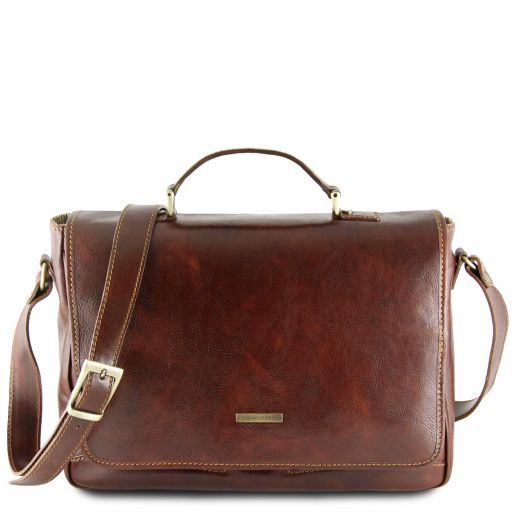 Padova Exclusive leather laptop case Brown TL140891