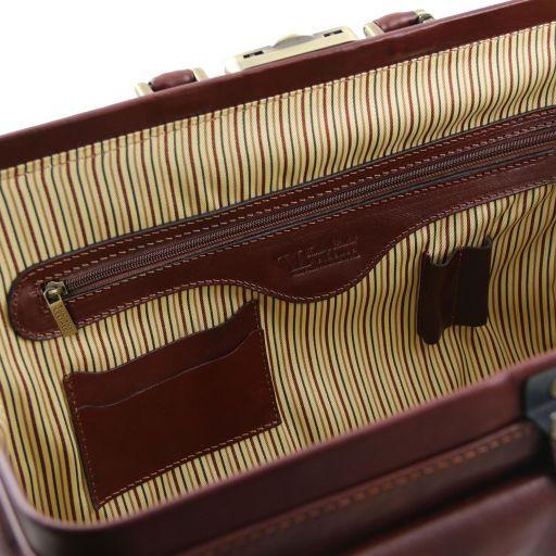 """Giotto Эксклюзивная кожаная """"докторская"""" сумка с двойным дном Темно-коричневый TL141297"""