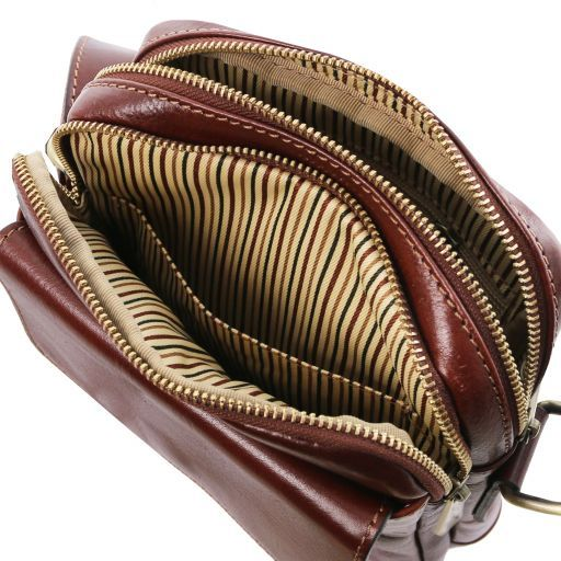 Larry Leather Crossbody Bag Brown TL141915