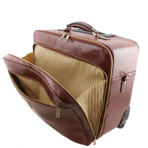 Varsavia Leather pilot case with two wheels Brown TL141888