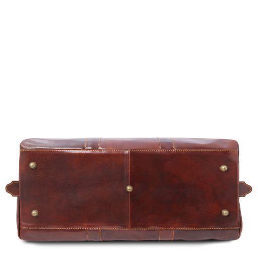 Francoforte Exclusive Leather Weekender Travel Bag - Small size Dark Brown TL140935