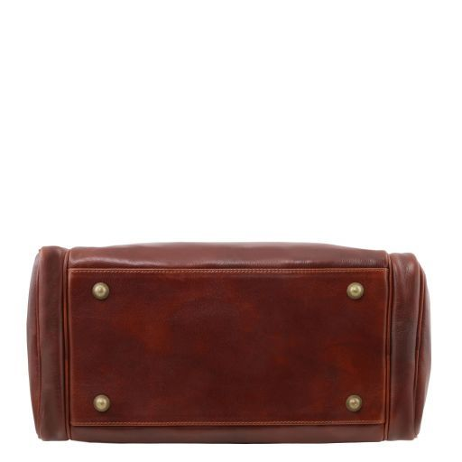 TL Voyager Reisetasche aus Leder mit 2 Reissverschluss Seitentaschen - Klein Dunkelbraun TL141441