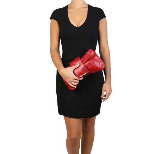 Priscilla Clutch leather handbag Dark Blue TL141801