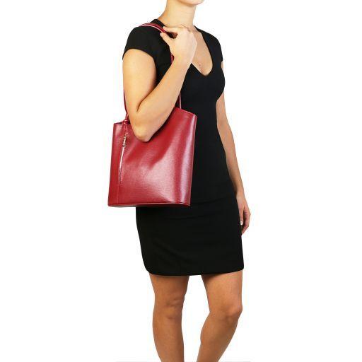 Patty Bolso de señora en piel Saffiano convertible en mochila Negro TL141455