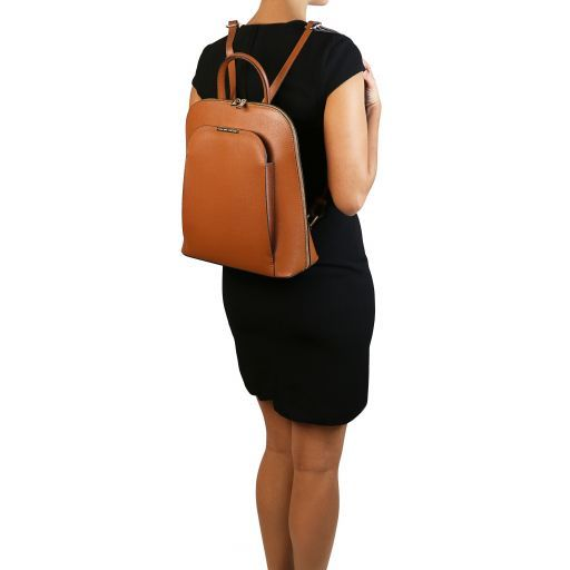 TL Bag Saffiano leather backpack for women Dark Blue TL141631