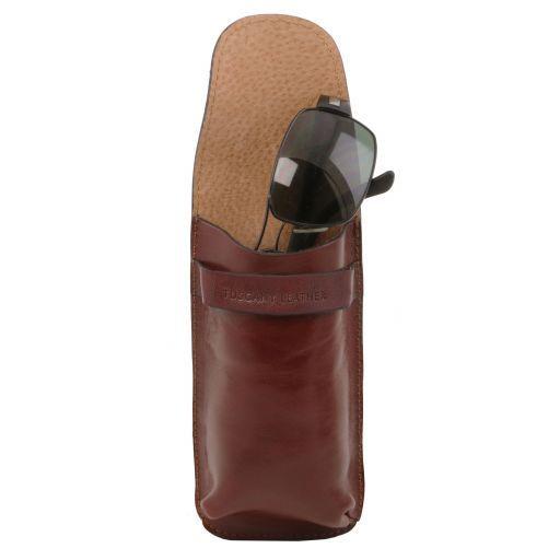 Exclusiva funda para gafas/Smartphone en piel con bandolera Modelo grande Negro TL141321