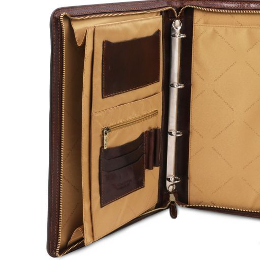 Costanzo Esclusivo portadocumenti in pelle con anelli e manico Miele TL141295