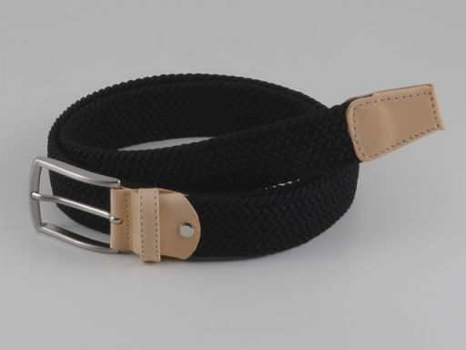 Esclusiva cintura elastica in pelle e tessuto Blu TL140646