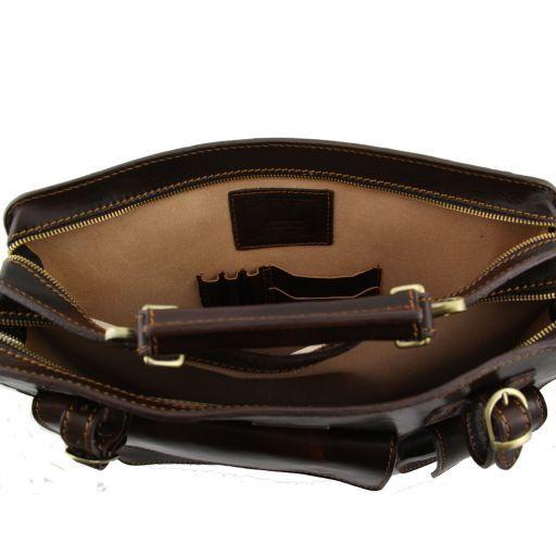 Venezia Porta folios en piel con 2 compartimentos y cierre de cremallera Negro TL10020