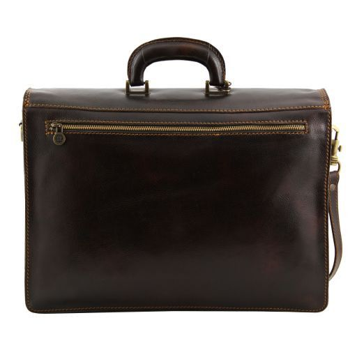 Roma Leather briefcase 3 compartments Black TL10026