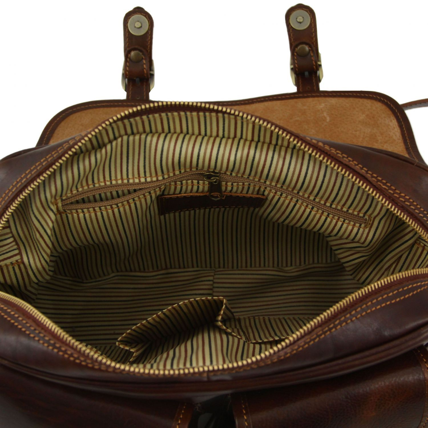 Tuscany Leather San Marino Sac de voyage en cuir avec poches frontales Marron J2KyLH46