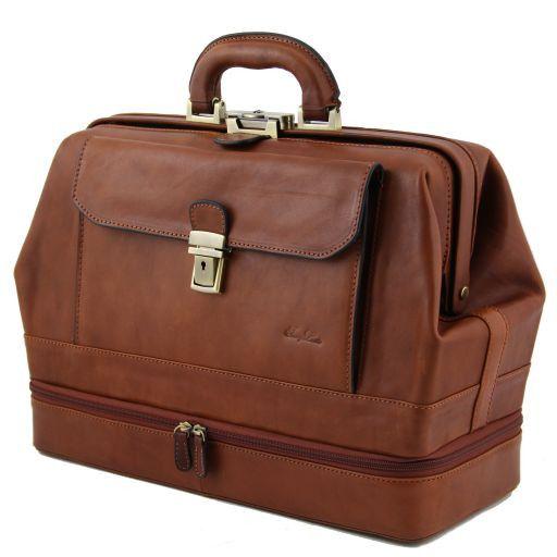 Giotto Esclusiva borsa medico in pelle con doppio fondo Marrone FC140229