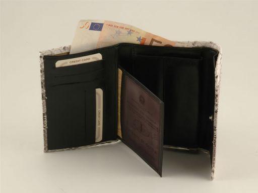 Esclusivo portafogli da donna in vero pitone Roccia TL140543