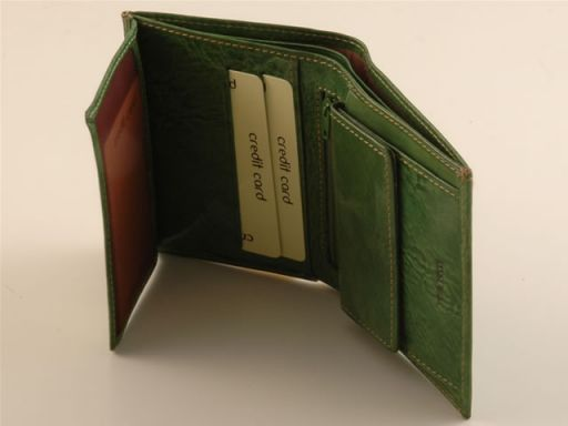 Esclusivo portafogli da uomo in pelle Verde TL140629