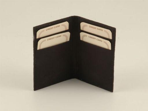 Esclusivo portacarte di credito in vero pitone Marrone TL140672
