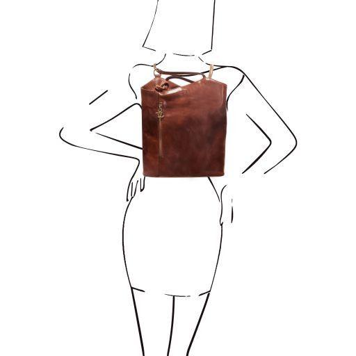 Patty Borsa donna in pelle convertibile a zaino Miele TL140691