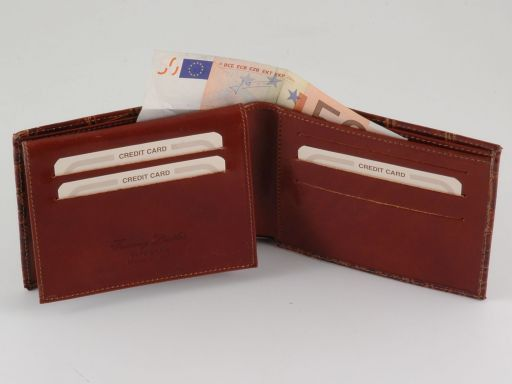 Esclusivo portafoglio uomo in pelle stampa cocco Nero TL140758