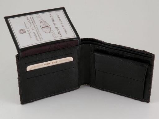 Esclusivo portafoglio uomo in pelle stampa cocco Nero TL140771