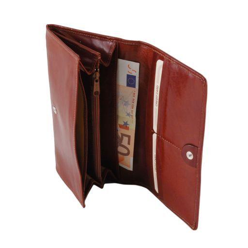 Esclusivo portafogli in pelle da donna con soffietti Miele TL140787
