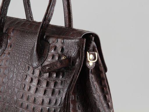 Erika Sac pour femme en cuir imprimé croco - Petit modèle Cognac TL140846