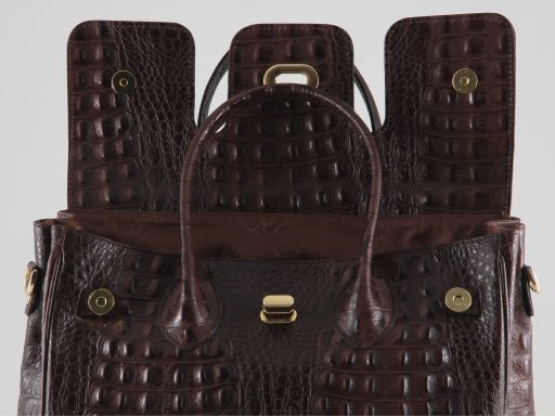 Erika Lady bag in croco look leather - Large size Black TL140847