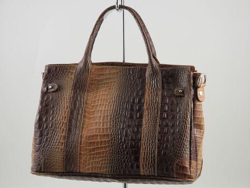Eva Borsa a mano in pelle stampa cocco - Misura piccola Cognac TL140924