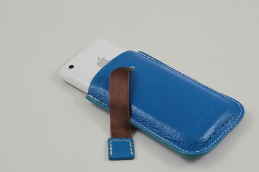 Leather iPhone3 iPhone4/4s holder Голубой TL140927