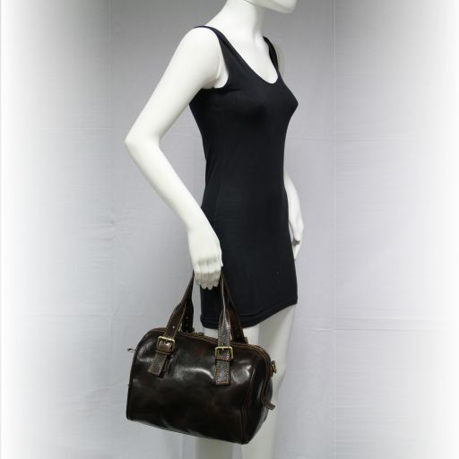 Martina Women's leather mini duffle Dark Brown TL141026