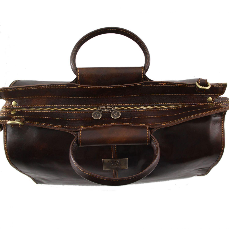 bratislava weekend reisetasche aus leder braun tl141041. Black Bedroom Furniture Sets. Home Design Ideas