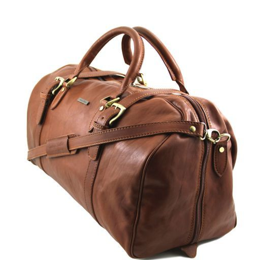 TL Travel Exclusive Leather Weekender Travel Bag with buckles Brown TL151102
