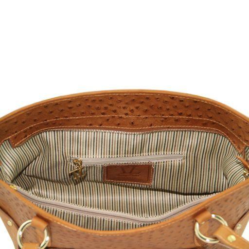 TL Bag Shopping bag in pelle con stampa struzzo Blu TL141106