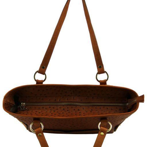 TL Bag Shopping bag in pelle con stampa struzzo Rosso TL141106