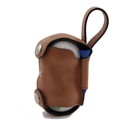 Porta bolas de golf en piel 2 bolas Marrón oscuro TL141159