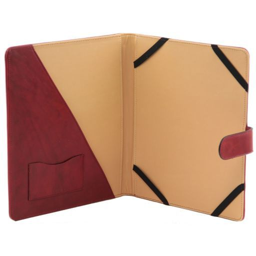 Leather iPad case with snap button Red TL141170
