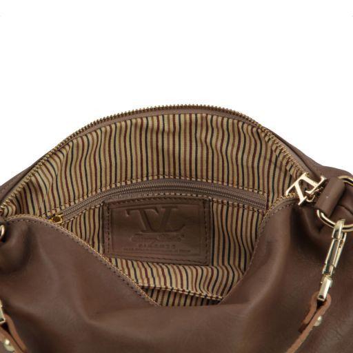 TL Bag Tracollina in pelle con accessori oro Azzurro TL141209