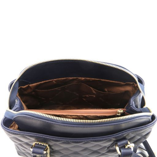TL KeyLuck Soft quilted leather duffle bag Dark Blue TL141222