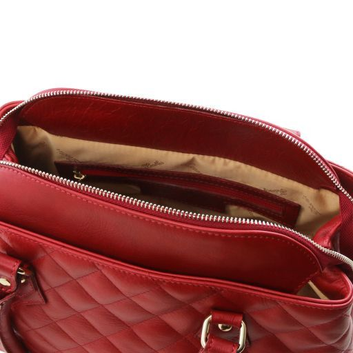 TL KeyLuck Soft quilted leather duffle bag Coral TL141222
