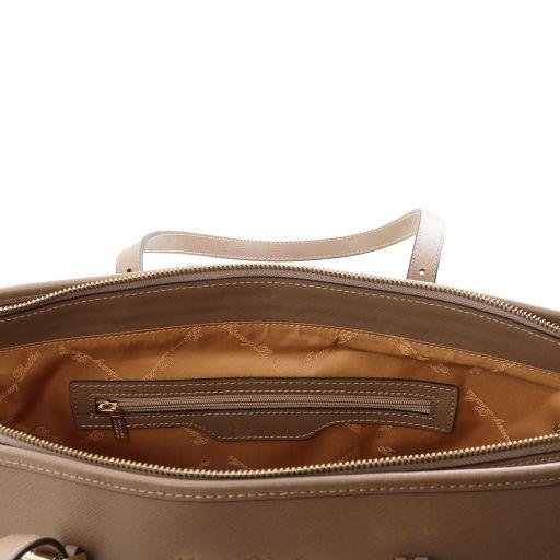 TL KeyLuck Borsa shopping in pelle Saffiano con due manici Giallo TL141224
