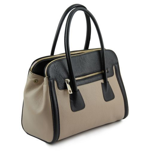 TL Bag Borsa a mano media in pelle bicolore Talpa chiaro TL141225