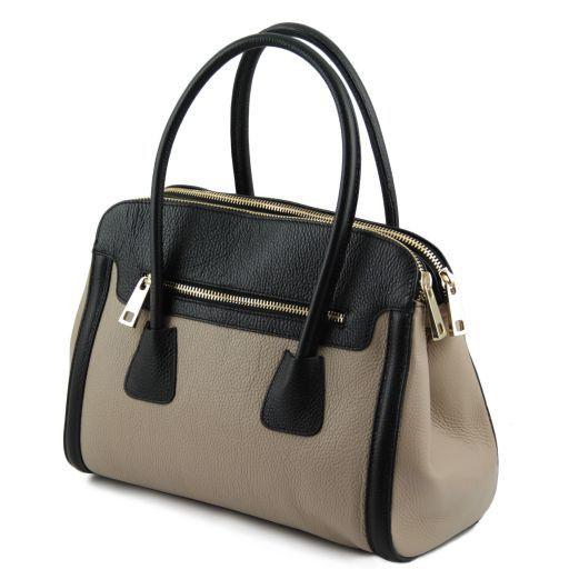 TL Bag Borsa a mano media in pelle bicolore Nero TL141225