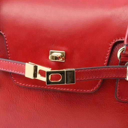 TL NeoClassic Leder Handtasche mit eleganten Drehverschluss Rot TL141230